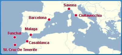 Mapa Okružní Plavba Po Moři - Kanárské Ostrovy a Madeiru