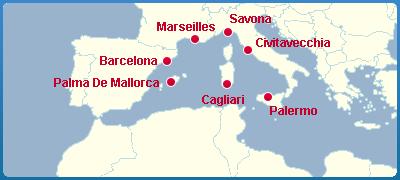 Mapa Okružní Plavba Lodí - Středomoří - Středozemní Moře - Fortuna