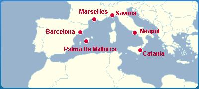 Mapa Okružní Plavba Lodí - Středomoří - Středozemní Moře - Serena