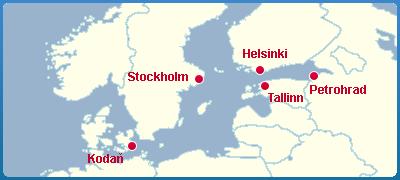 Mapa Plavba Lodí Po Baltském Moři - Severní Evropa
